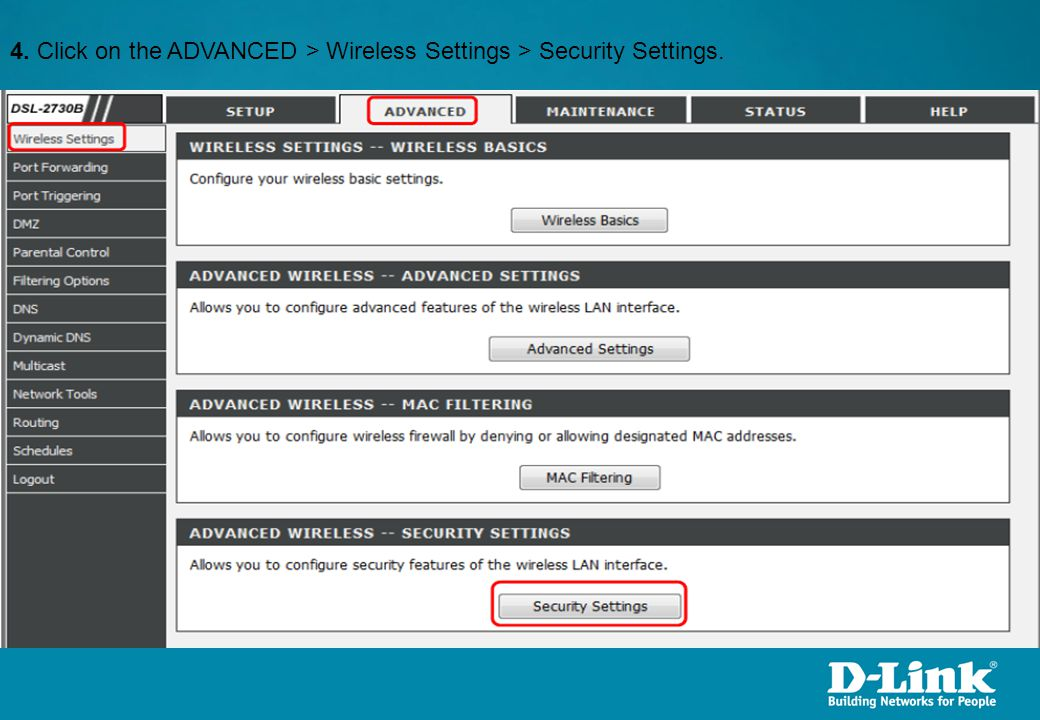 4. Click on the ADVANCED > Wireless Settings > Security Settings.