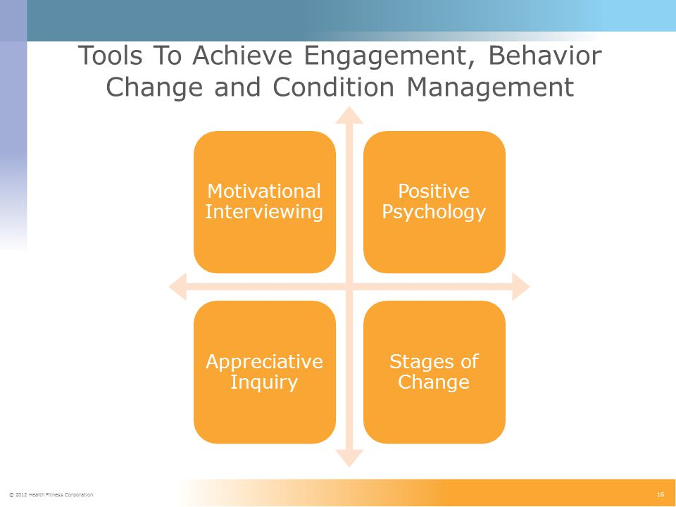 © 2012 Health Fitness Corporation 16 Tools To Achieve Engagement, Behavior Change and Condition Management Motivational Interviewing Positive Psychology Appreciative Inquiry Stages of Change