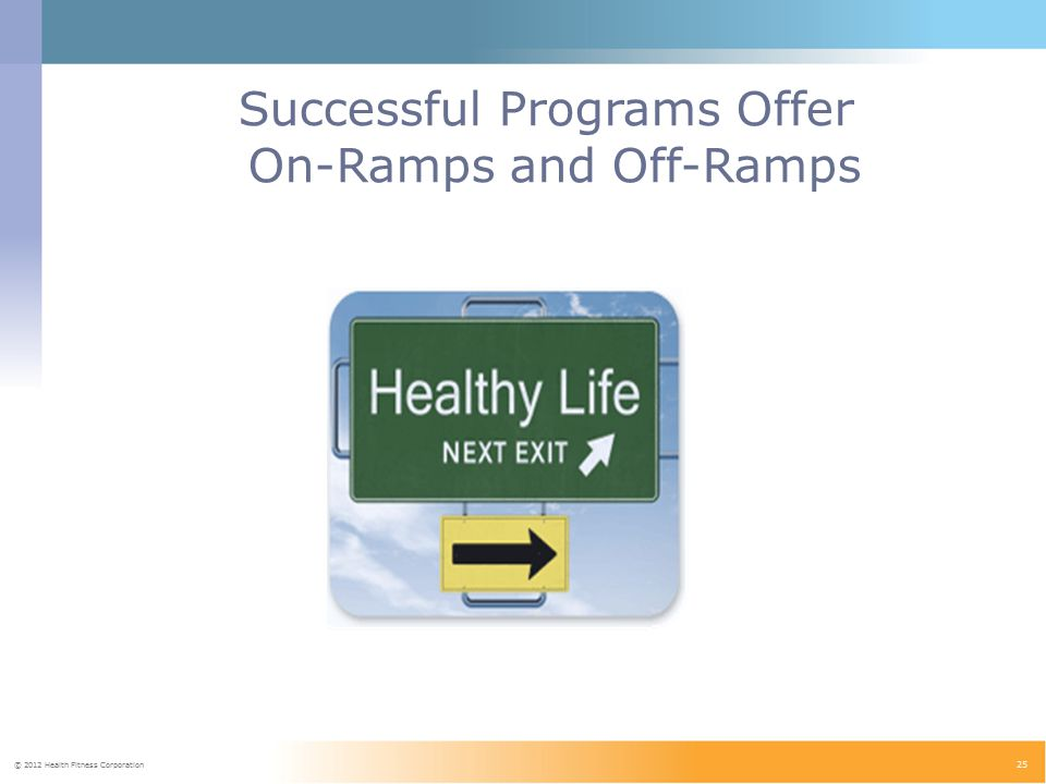 © 2012 Health Fitness Corporation 25 Successful Programs Offer On-Ramps and Off-Ramps
