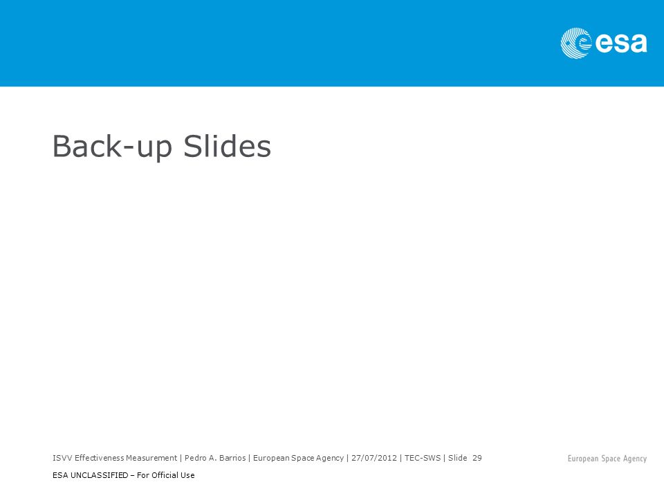 ISVV Effectiveness Measurement | Pedro A. Barrios | European Space Agency | 27/07/2012 | TEC-SWS | Slide 29 ESA UNCLASSIFIED – For Official Use Back-u