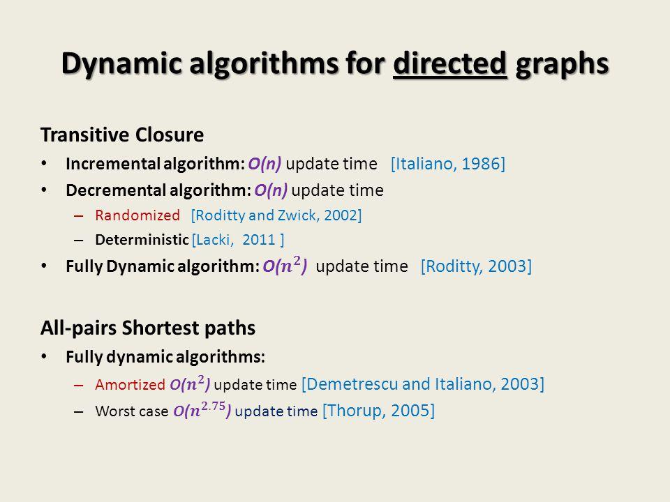 Dynamic algorithms for directed graphs