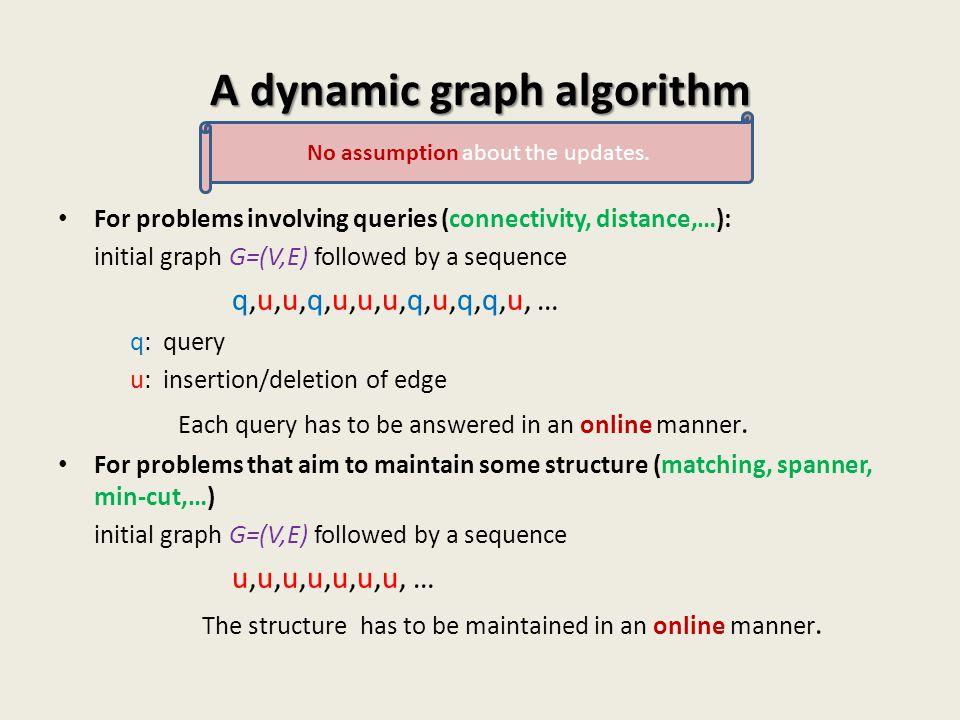 A dynamic graph algorithm For problems involving queries (connectivity, distance,…): initial graph G=(V,E) followed by a sequence q,u,u,q,u,u,u,q,u,q,