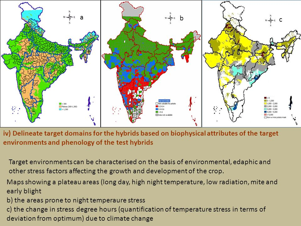 Maps showing a plateau areas (long day, high night temperature, low radiation, mite and early blight b) the areas prone to night temperaure stress c) the change in stress degree hours (quantification of temperature stress in terms of deviation from optimum) due to climate change a b c Target environments can be characterised on the basis of environmental, edaphic and other stress factors affecting the growth and development of the crop.
