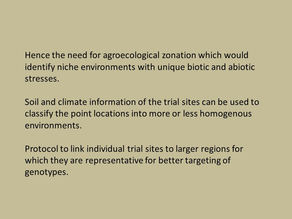 Hence the need for agroecological zonation which would identify niche environments with unique biotic and abiotic stresses.