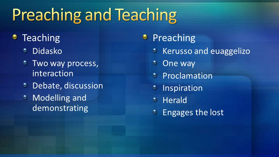 Teaching Didasko Two way process, interaction Debate, discussion Modelling and demonstrating Preaching Kerusso and euaggelizo One way Proclamation Inspiration Herald Engages the lost