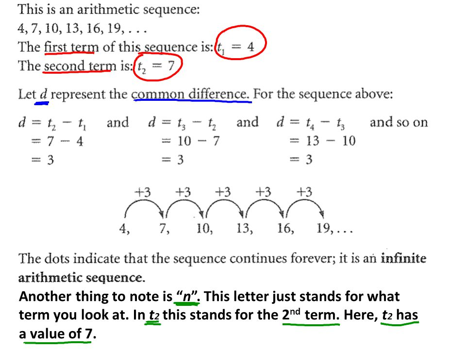 So, look at the following sequence and then answer the questions: 9, 5, 1, -3, -7, -11 a) Is the sequence infinite or finite.