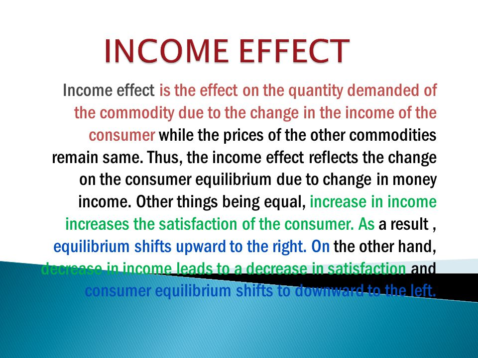 Income effect is the effect on the quantity demanded of the commodity due to the change in the income of the consumer while the prices of the other commodities remain same.