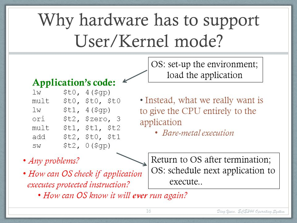Why hardware has to support User/Kernel mode.