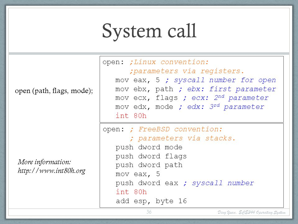 Directly using system call.
