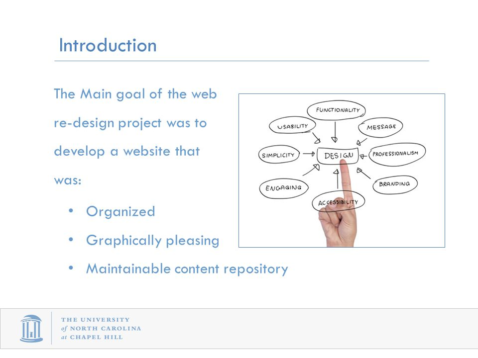 Introduction Organized Graphically pleasing Maintainable content repository The Main goal of the web re-design project was to develop a website that was: