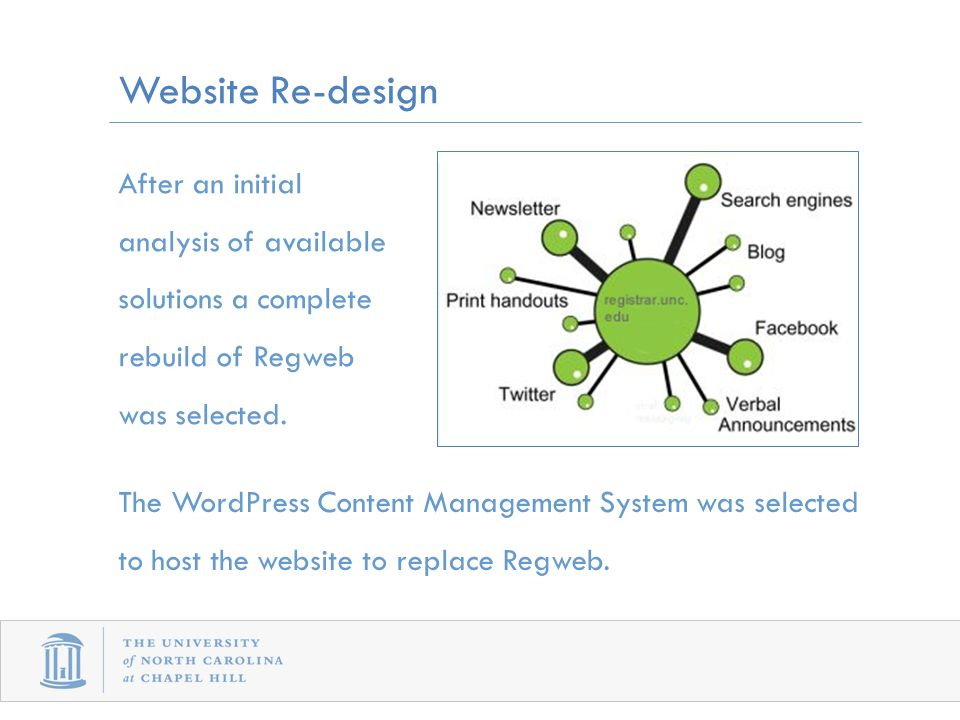 After an initial analysis of available solutions a complete rebuild of Regweb was selected.