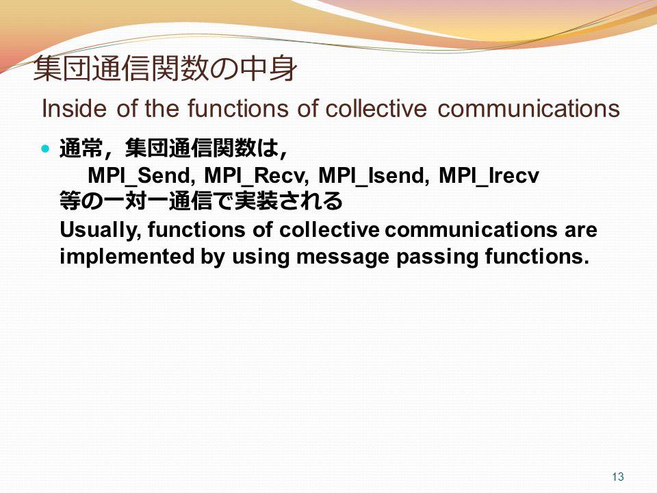 集団通信関数の中身 Inside of the functions of collective communications 通常,集団通信関数は, MPI_Send, MPI_Recv, MPI_Isend, MPI_Irecv 等の一対一通信で実装される Usually, functions of collective communications are implemented by using message passing functions.
