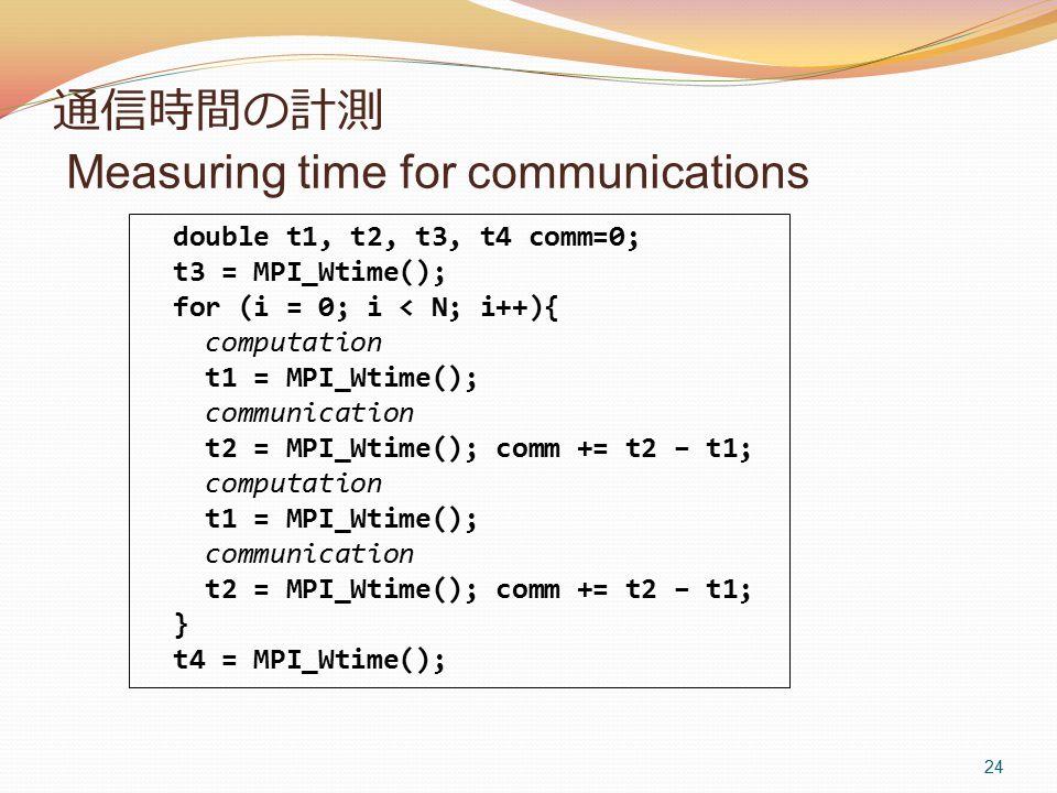 通信時間の計測 Measuring time for communications 24 double t1, t2, t3, t4 comm=0; t3 = MPI_Wtime(); for (i = 0; i < N; i++){ computation t1 = MPI_Wtime(); communication t2 = MPI_Wtime(); comm += t2 – t1; computation t1 = MPI_Wtime(); communication t2 = MPI_Wtime(); comm += t2 – t1; } t4 = MPI_Wtime();