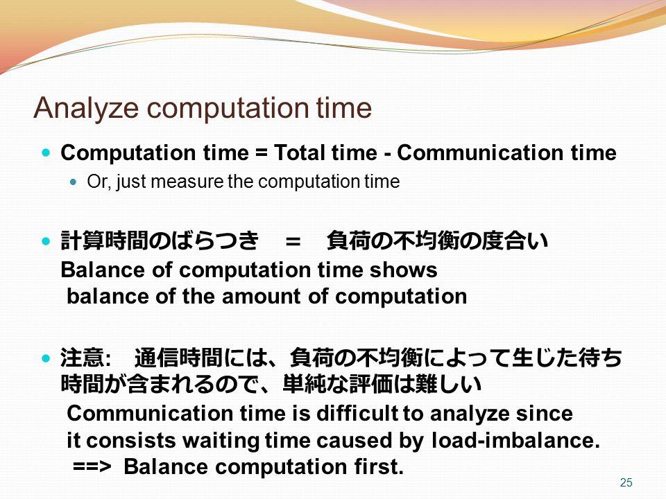 Analyze computation time Computation time = Total time - Communication time Or, just measure the computation time 計算時間のばらつき = 負荷の不均衡の度合い Balance of co
