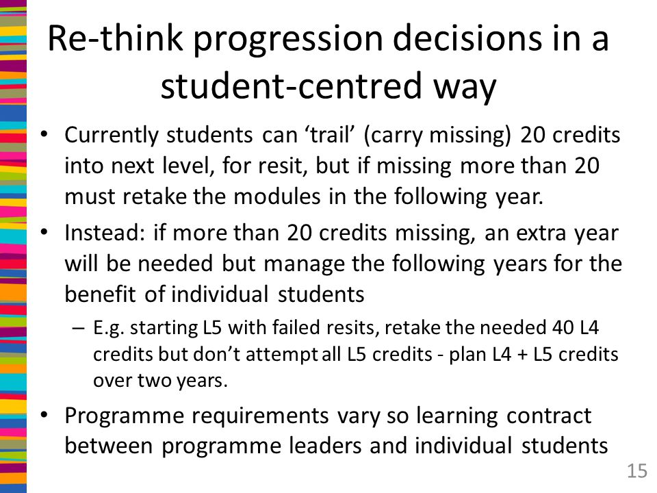 Re-think progression decisions in a student-centred way Currently students can 'trail' (carry missing) 20 credits into next level, for resit, but if missing more than 20 must retake the modules in the following year.