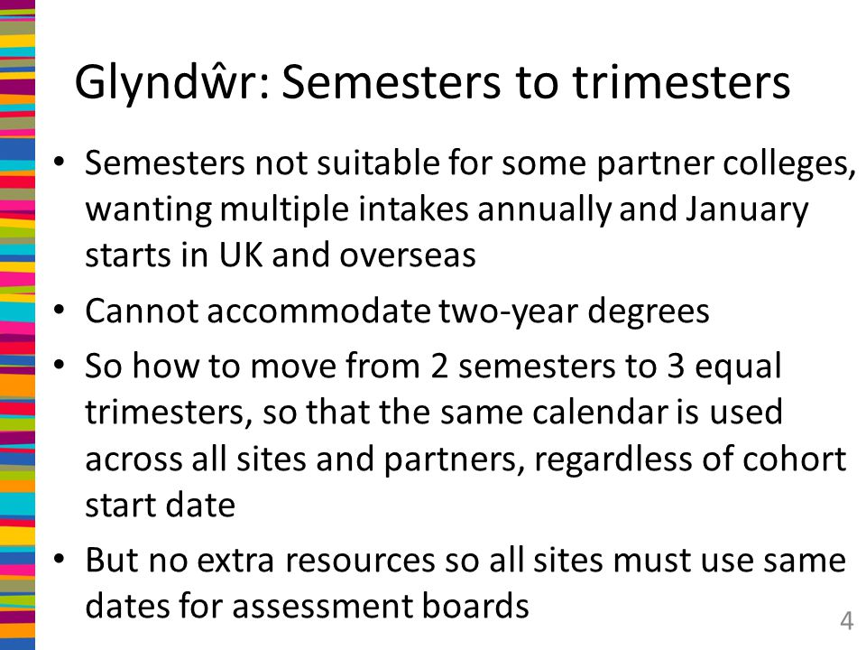 Semesters in weeks – exhibit 1 weeks Induction & enrolment, late Sept 1 Semester 115 …with 3 Christmas weeks holiday 3 Semester 215 … with 2 Easter weeks holiday 2 Assessment boards, June 4 Summer vac 6 Resits 2 Assessment boards 4 52 And start again 5 Note that Christmas and Easter breaks serve a function for learning time before end of semester exams/submission, as does summer for resits.