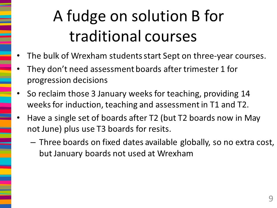 A fudge on solution B for traditional courses The bulk of Wrexham students start Sept on three-year courses.