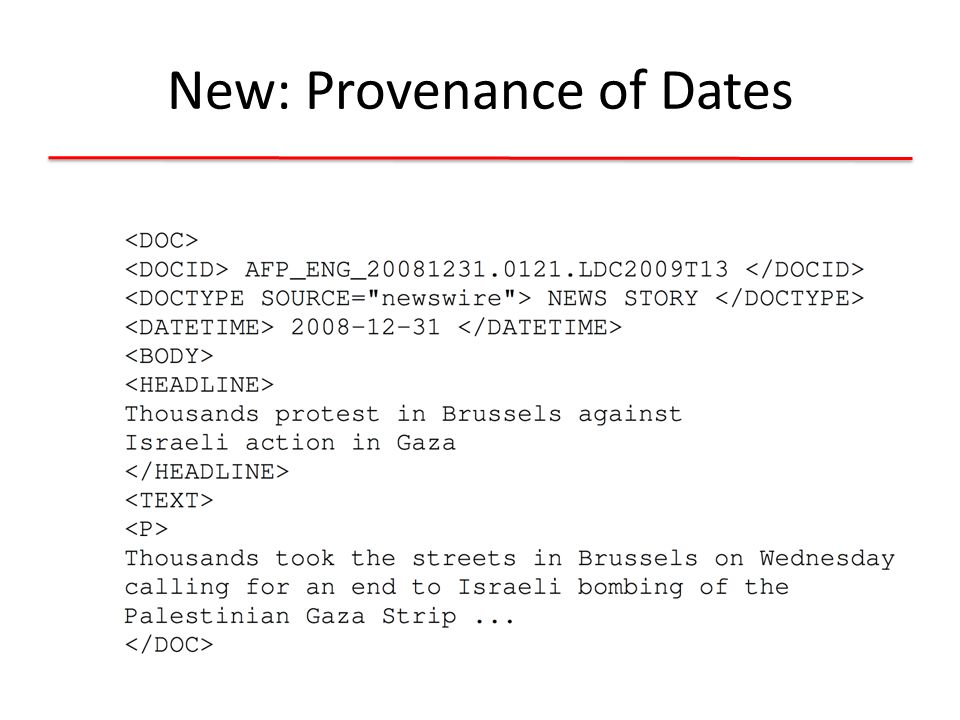 Provenance of date mentions used for normalization must be reported!