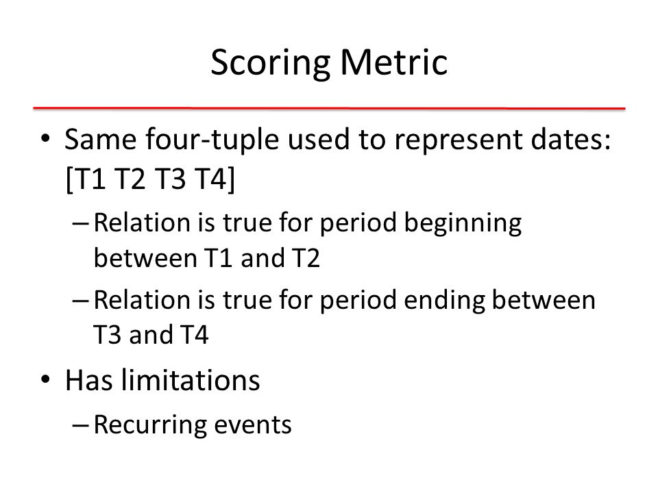 Scoring Metric Same four-tuple used to represent dates: [T1 T2 T3 T4] – Relation is true for period beginning between T1 and T2 – Relation is true for period ending between T3 and T4 Has limitations – Recurring events