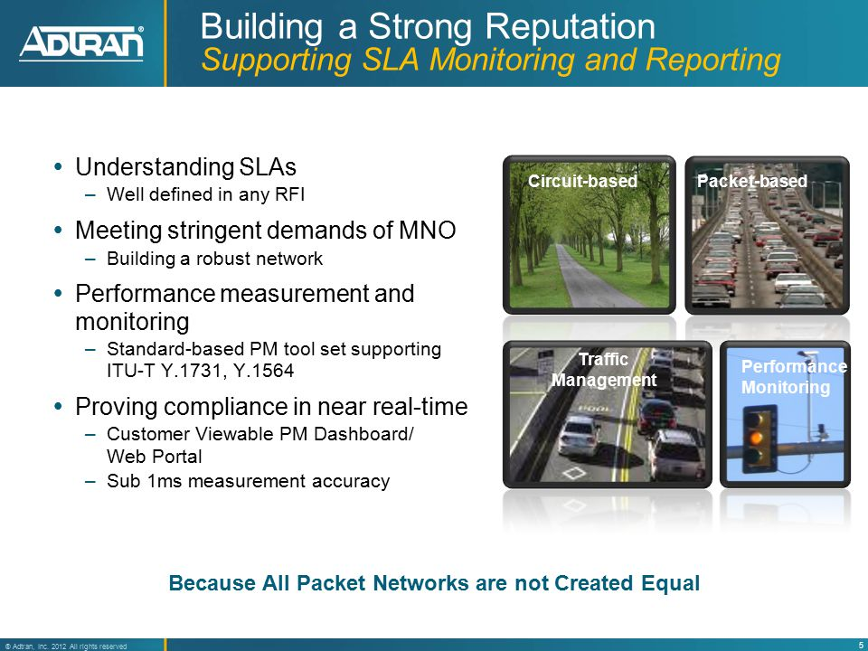 5 ® Adtran, Inc. 2012 All rights reserved Building a Strong Reputation Supporting SLA Monitoring and Reporting  Understanding SLAs –Well defined in a