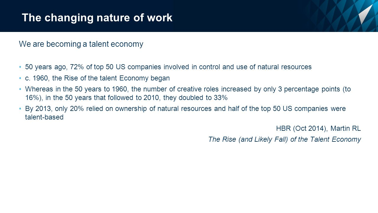 The changing nature of work We are becoming a talent economy 50 years ago, 72% of top 50 US companies involved in control and use of natural resources c.