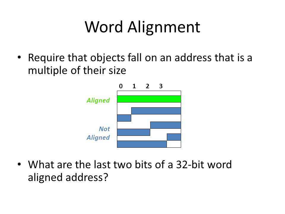 Word Alignment Require that objects fall on an address that is a multiple of their size What are the last two bits of a 32-bit word aligned address.