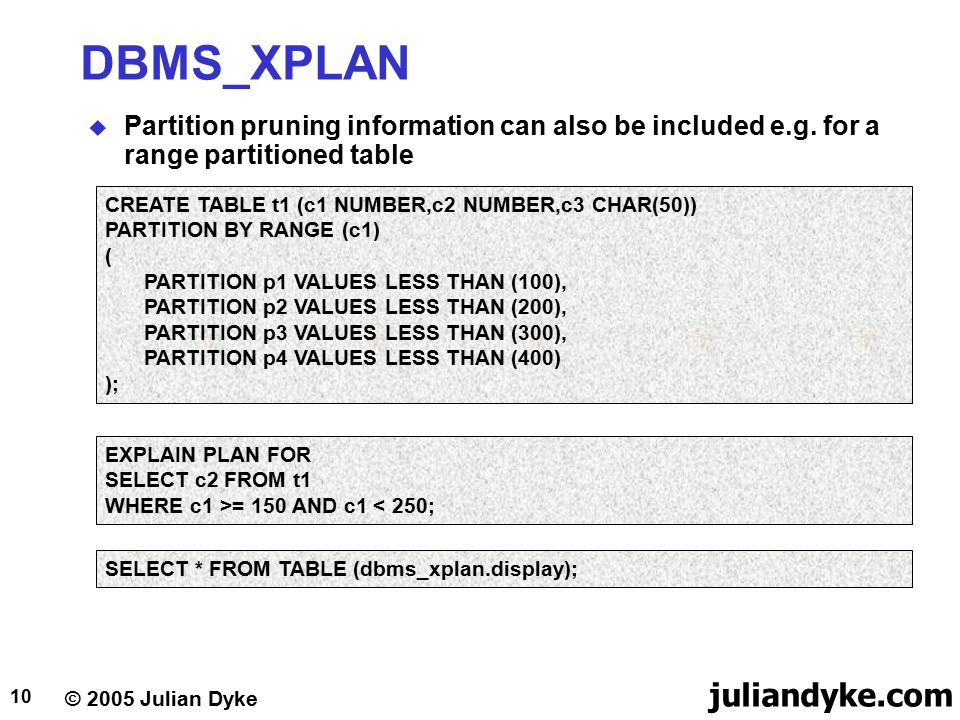 © 2005 Julian Dyke juliandyke.com 10 DBMS_XPLAN  Partition pruning information can also be included e.g. for a range partitioned table EXPLAIN PLAN F