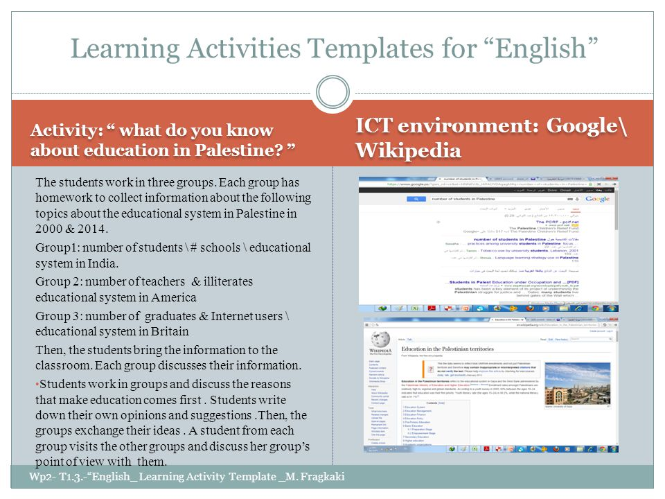 Activity: what do you know about education in Palestine.