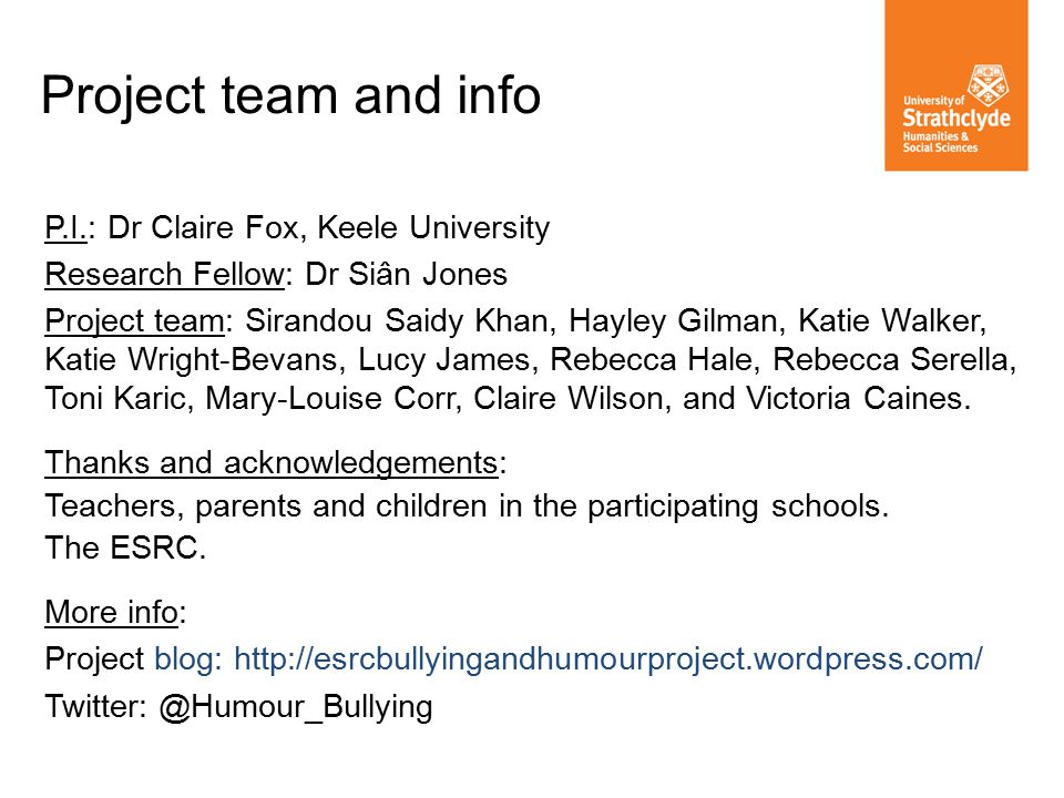 Project team and info P.I.: Dr Claire Fox, Keele University Research Fellow: Dr Siân Jones Project team: Sirandou Saidy Khan, Hayley Gilman, Katie Walker, Katie Wright-Bevans, Lucy James, Rebecca Hale, Rebecca Serella, Toni Karic, Mary-Louise Corr, Claire Wilson, and Victoria Caines.