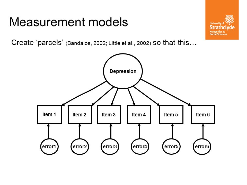 Measurement models Create 'parcels' (Bandalos, 2002; Little et al., 2002) so that this… Item 1 Item 2 Item 3 error1 error2error3 Item 4 Item 5Item 6 error4 error5 error6 Depression