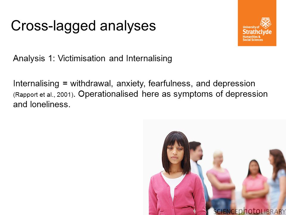 Analysis 1: Victimisation and Internalising Internalising = withdrawal, anxiety, fearfulness, and depression (Rapport et al., 2001).