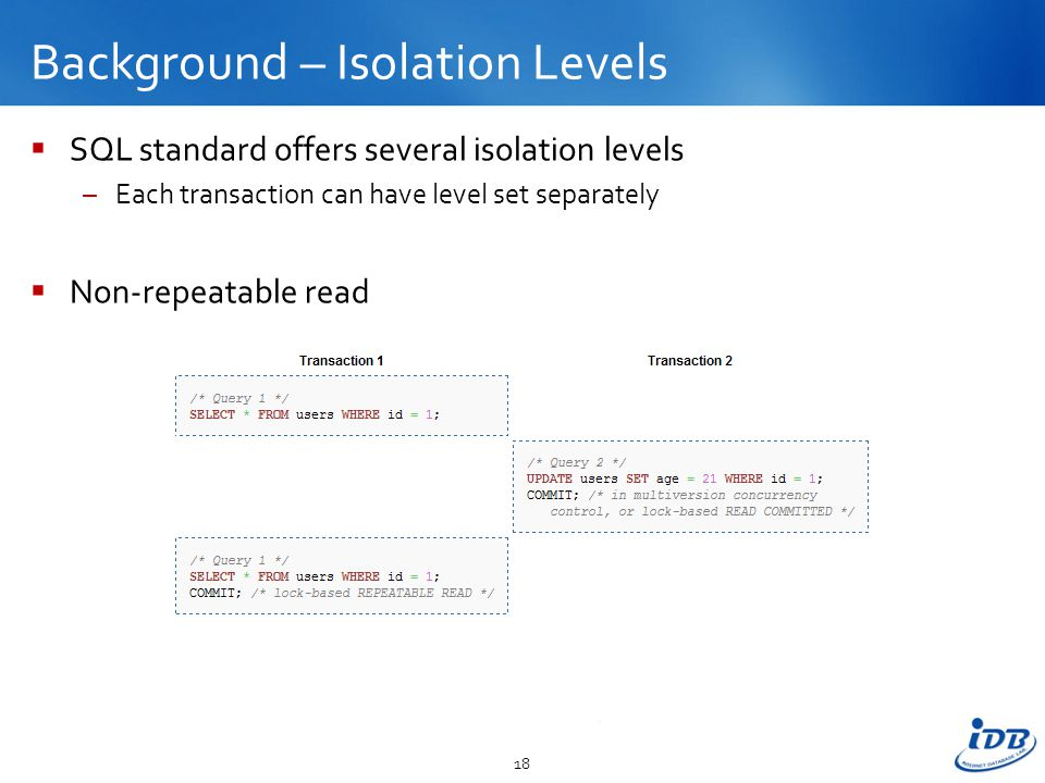 Background – Isolation Levels  SQL standard offers several isolation levels –Each transaction can have level set separately  Non-repeatable read 18
