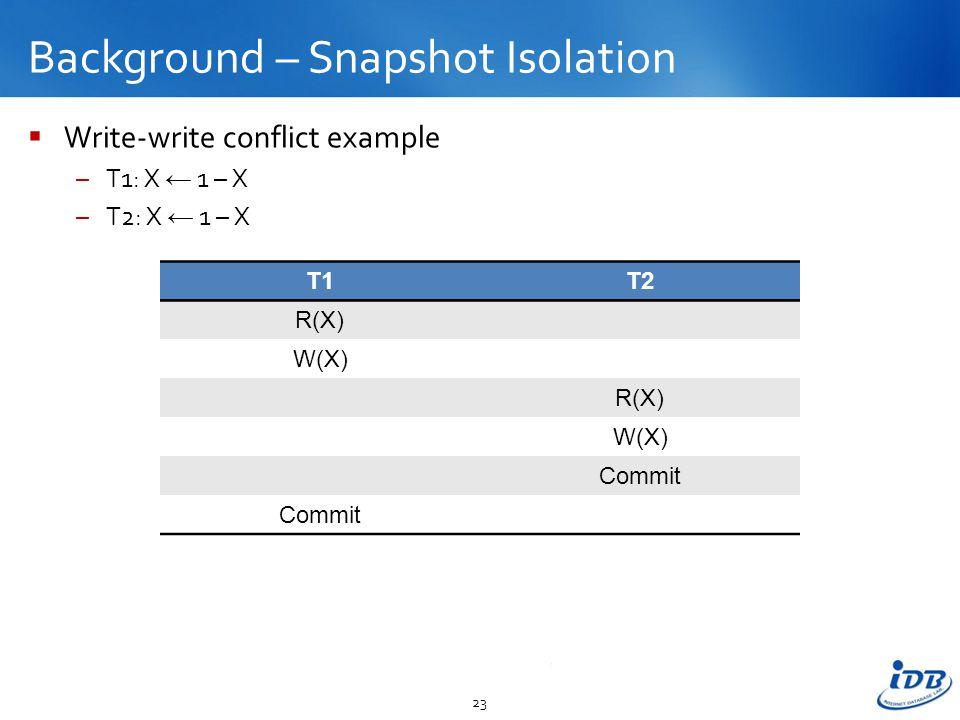 Background – Snapshot Isolation  Write-write conflict example –T1: X ← 1 – X –T2: X ← 1 – X 23 T1T2 R(X) W(X) R(X) W(X) Commit