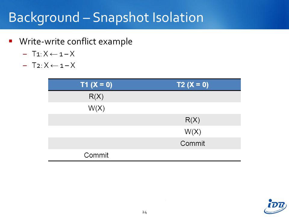 Background – Snapshot Isolation  Write-write conflict example –T1: X ← 1 – X –T2: X ← 1 – X 24 T1 (X = 0)T2 (X = 0) R(X) W(X) R(X) W(X) Commit