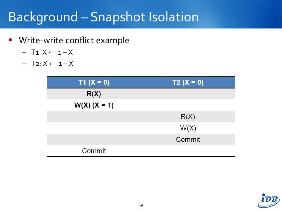 Background – Snapshot Isolation  Write-write conflict example –T1: X ← 1 – X –T2: X ← 1 – X 26 T1 (X = 0)T2 (X = 0) R(X) W(X) (X = 1) R(X) W(X) Commit