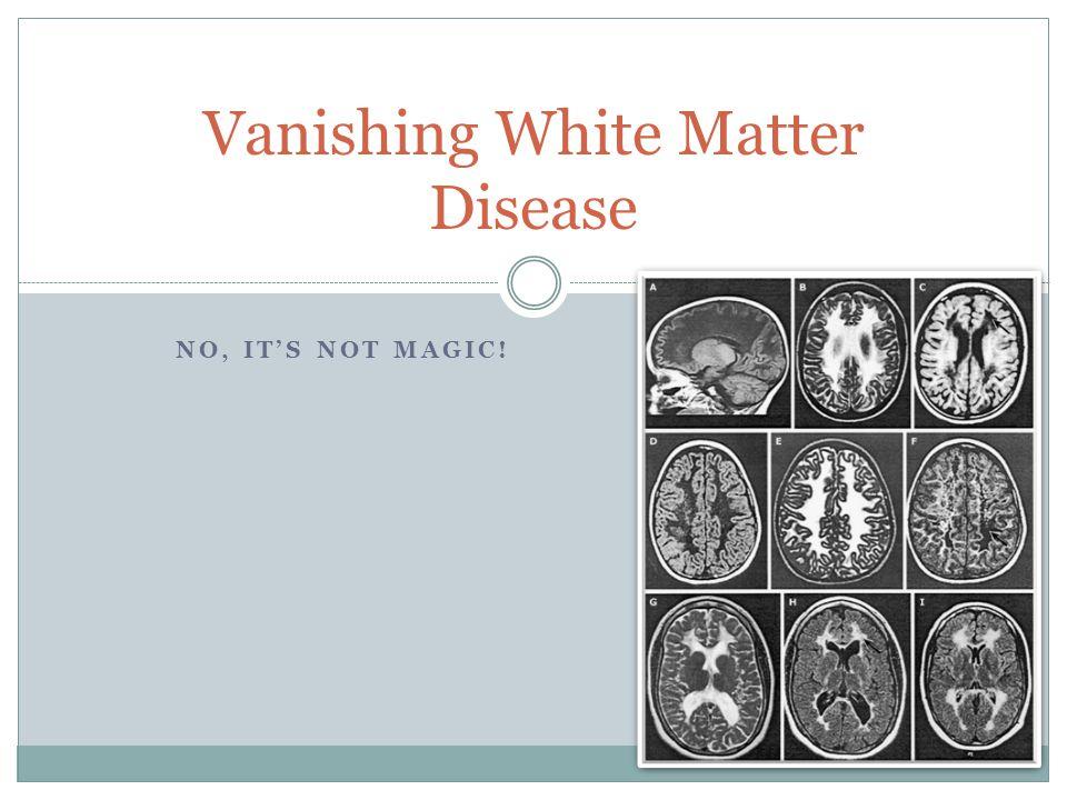 NO, IT'S NOT MAGIC! Vanishing White Matter Disease