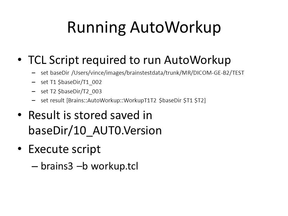 Running AutoWorkup TCL Script required to run AutoWorkup – set baseDir /Users/vince/images/brainstestdata/trunk/MR/DICOM-GE-B2/TEST – set T1 $baseDir/