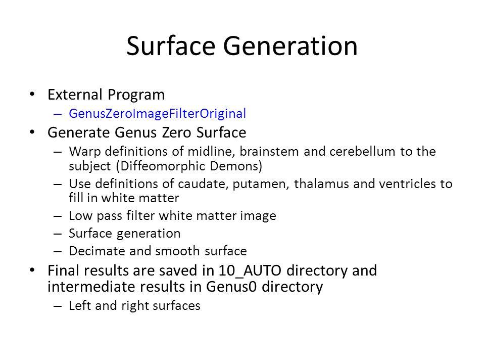 Surface Generation External Program – GenusZeroImageFilterOriginal Generate Genus Zero Surface – Warp definitions of midline, brainstem and cerebellum