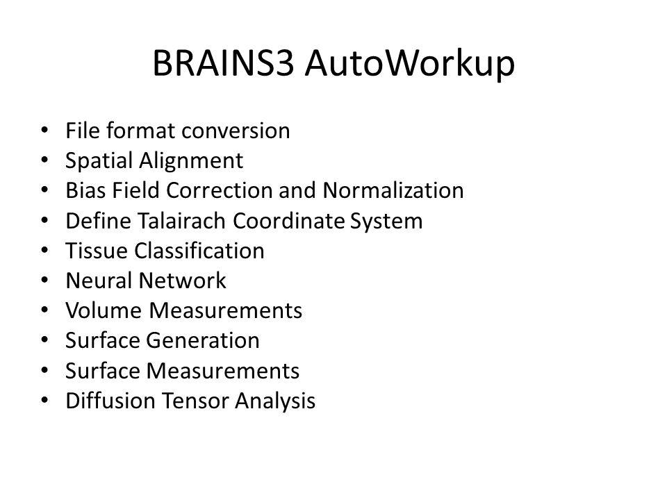 Running AutoWorkup TCL Script required to run AutoWorkup – set baseDir /Users/vince/images/brainstestdata/trunk/MR/DICOM-GE-B2/TEST – set T1 $baseDir/T1_002 – set T2 $baseDir/T2_003 – set result [Brains::AutoWorkup::WorkupT1T2 $baseDir $T1 $T2] Result is stored saved in baseDir/10_AUT0.Version Execute script – brains3 –b workup.tcl