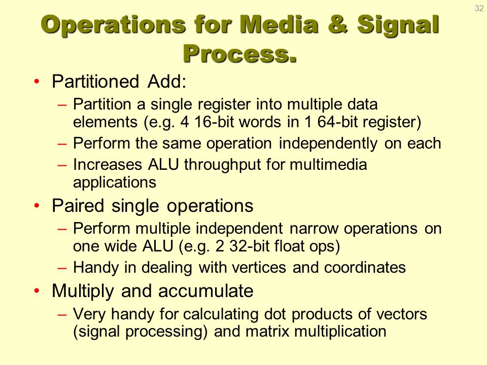 Operations for Media & Signal Process.