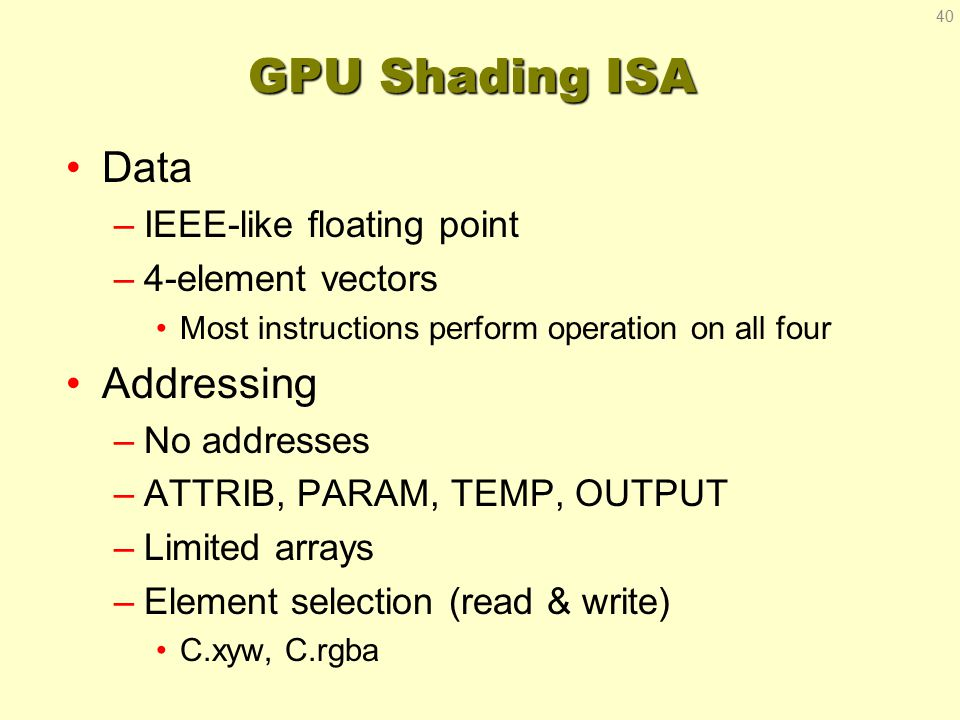 GPU Shading ISA Data –IEEE-like floating point –4-element vectors Most instructions perform operation on all four Addressing –No addresses –ATTRIB, PA