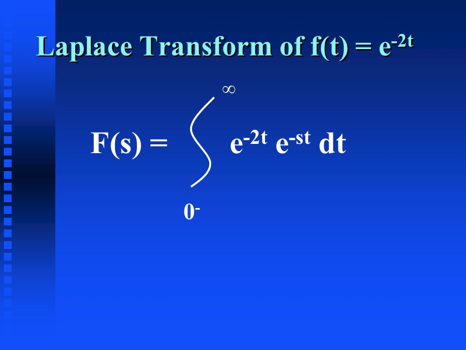 Laplace Transform of f(t) = e -2t F(s) = e -2t e -st dt 0-0- ∞