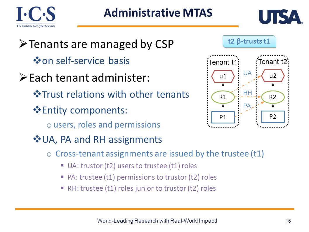 Administrative MTAS  Tenants are managed by CSP  on self-service basis  Each tenant administer:  Trust relations with other tenants  Entity components: o users, roles and permissions  UA, PA and RH assignments o Cross-tenant assignments are issued by the trustee (t1)  UA: trustor (t2) users to trustee (t1) roles  PA: trustee (t1) permissions to trustor (t2) roles  RH: trustee (t1) roles junior to trustor (t2) roles World-Leading Research with Real-World Impact.