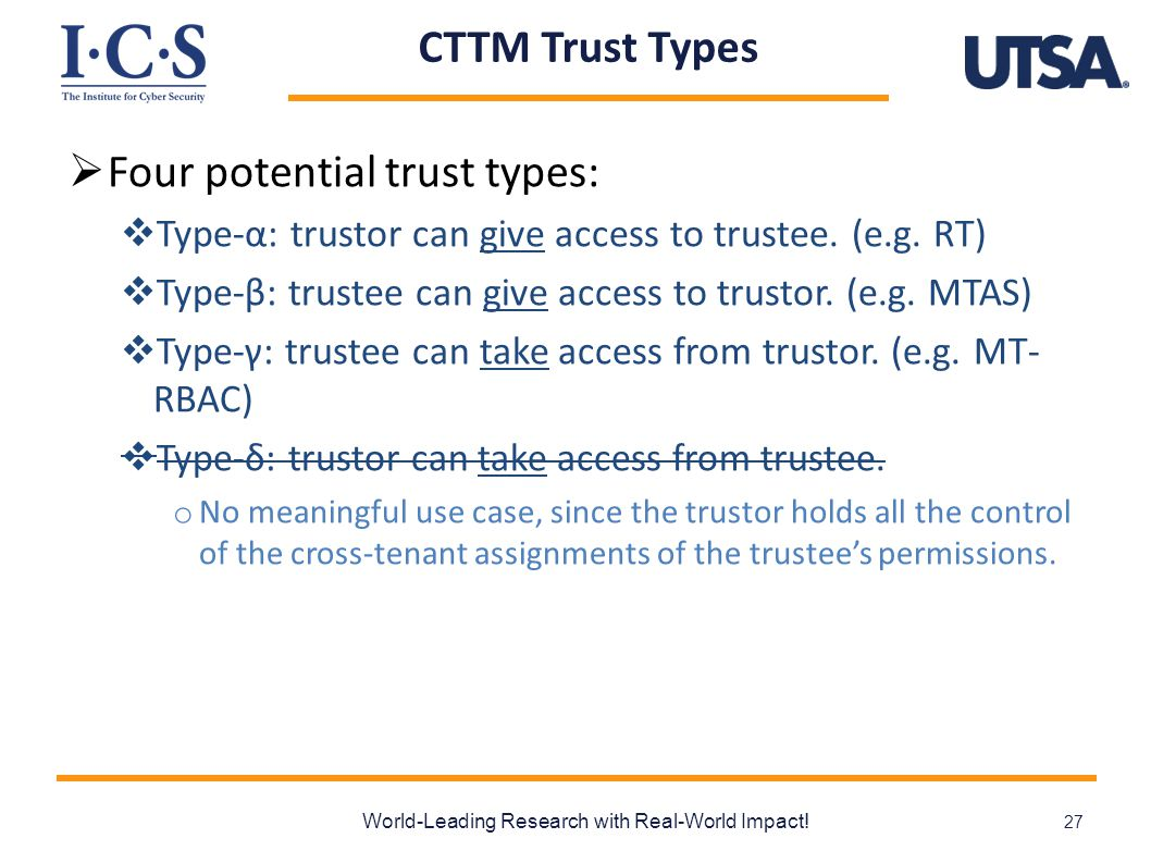 CTTM Trust Types  Four potential trust types:  Type-α: trustor can give access to trustee. (e.g. RT)  Type-β: trustee can give access to trustor. (
