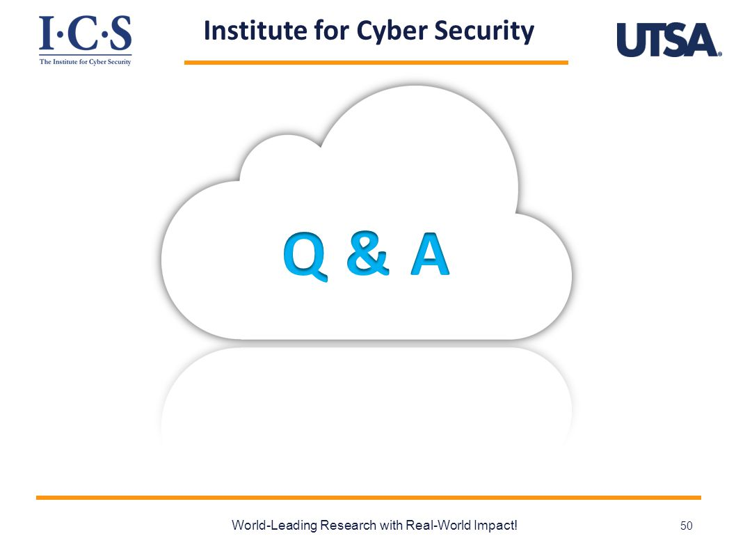 Institute for Cyber Security World-Leading Research with Real-World Impact! 50