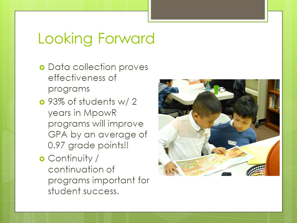 Looking Forward  Data collection proves effectiveness of programs  93% of students w/ 2 years in MpowR programs will improve GPA by an average of 0.97 grade points!.