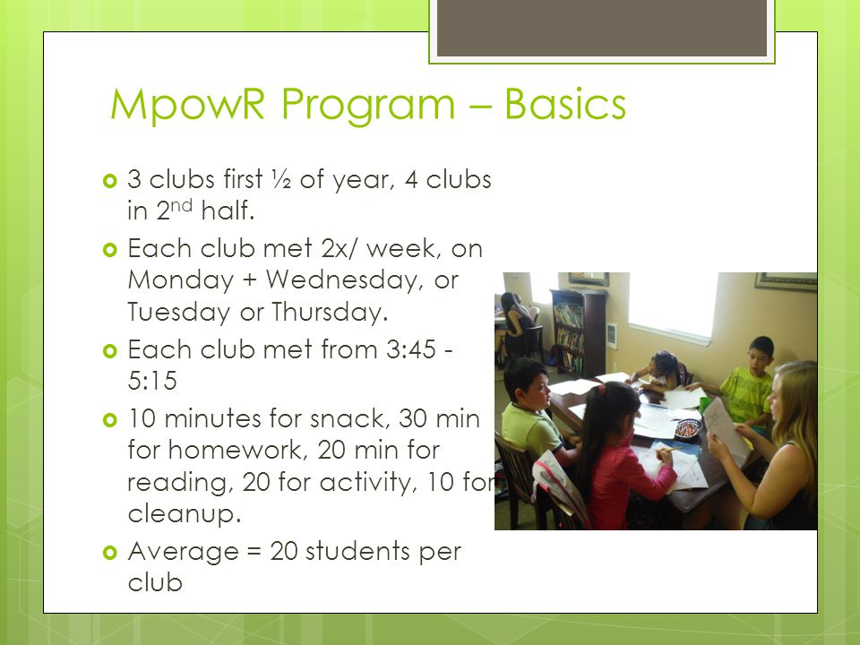 MpowR Program – Basics  3 clubs first ½ of year, 4 clubs in 2 nd half.  Each club met 2x/ week, on Monday + Wednesday, or Tuesday or Thursday.  Eac