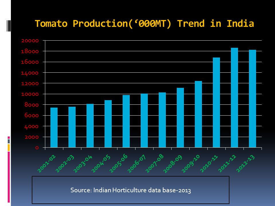 Tomato Production('000MT) Trend in India Source: Indian Horticulture data base-2013