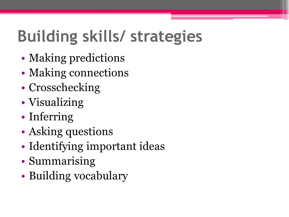 Building skills/ strategies Making predictions Making connections Crosschecking Visualizing Inferring Asking questions Identifying important ideas Summarising Building vocabulary