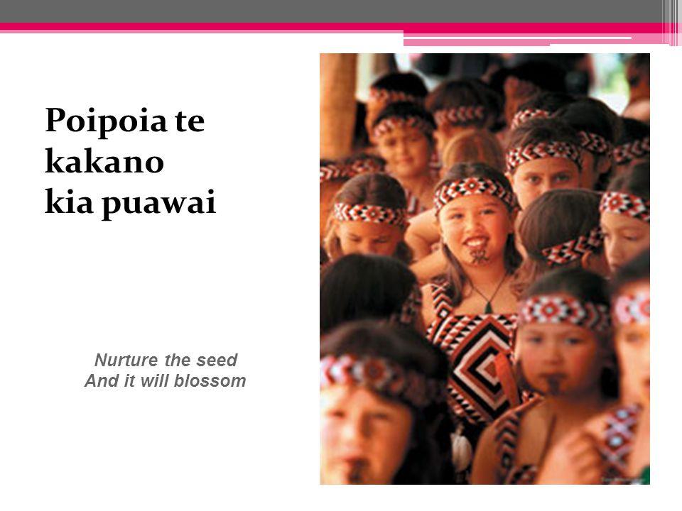 ka puawai Nurture the seed And it will blossom seed And it will blossom Poipoia te kakano kia puawai